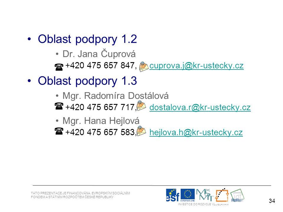 34 TATO PREZENTACE JE FINANCOVÁNA EVROPSKÝM SOCIÁLNÍM FONDEM A STÁTNÍM ROZPOČTEM ČESKÉ REPUBLIKY INVESTICE DO ROZVOJE VZDĚLÁVÁNÍ 34 Oblast podpory 1.2 Dr.