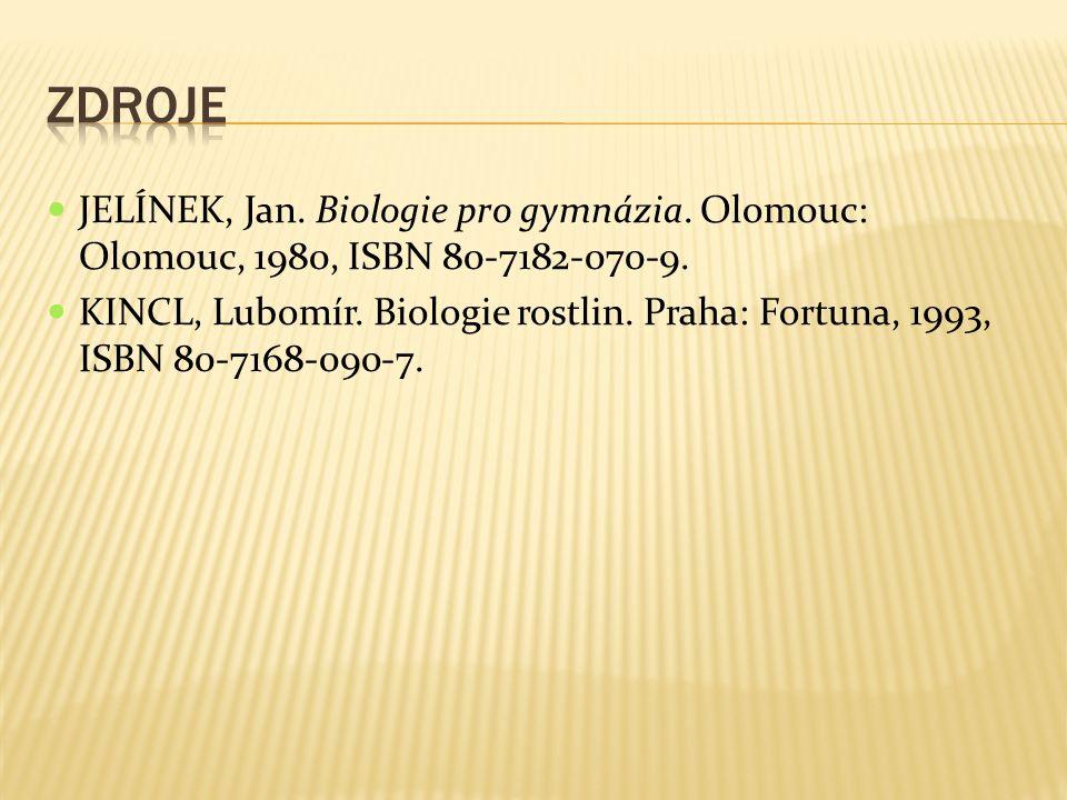 JELÍNEK, Jan. Biologie pro gymnázia. Olomouc: Olomouc, 1980, ISBN 80-7182-070-9. KINCL, Lubomír. Biologie rostlin. Praha: Fortuna, 1993, ISBN 80-7168-