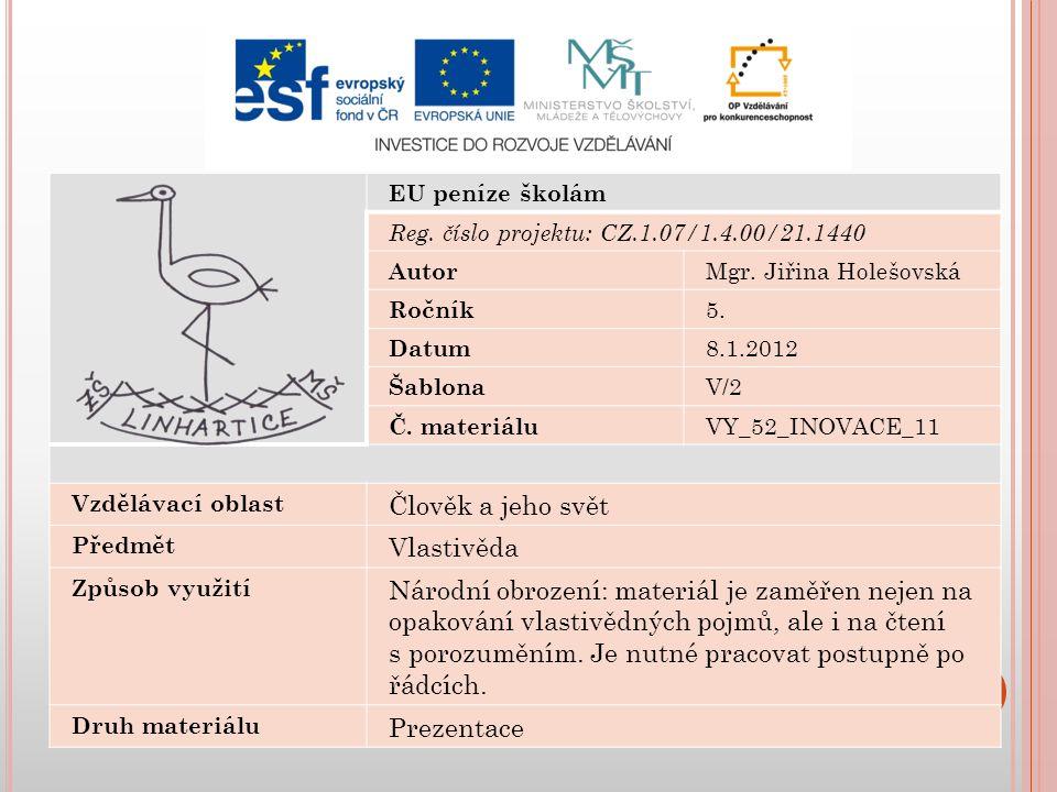 EU peníze školám Reg. číslo projektu: CZ.1.07/1.4.00/21.1440 Autor Mgr.