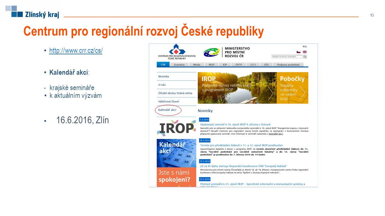 http://www.crr.cz/cs/ Kalendář akcí : -krajské semináře k aktuálním výzvám 16.6.2016, Zlín Centrum pro regionální rozvoj České republiky 13