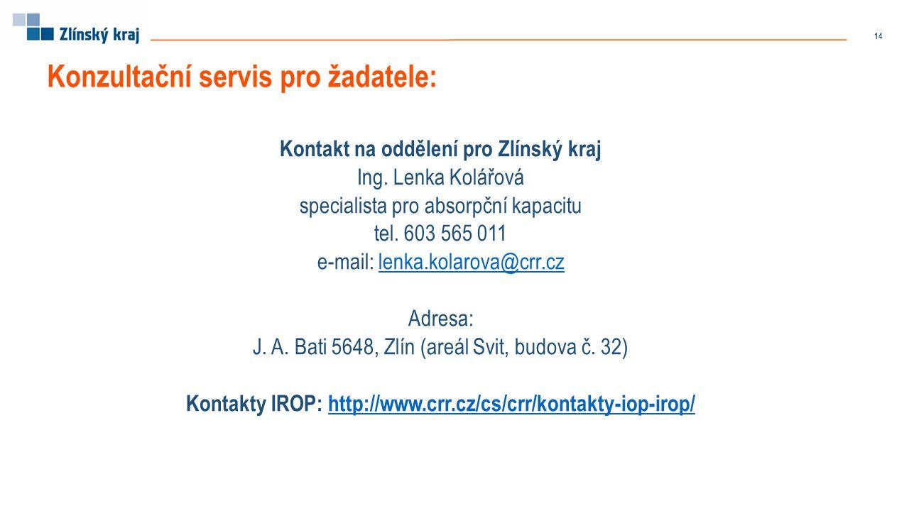 Kontakt na oddělení pro Zlínský kraj Ing. Lenka Kolářová specialista pro absorpční kapacitu tel.