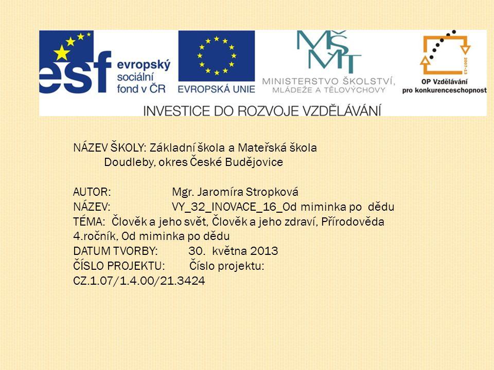 NÁZEV ŠKOLY: Základní škola a Mateřská škola Doudleby, okres České Budějovice AUTOR:Mgr.