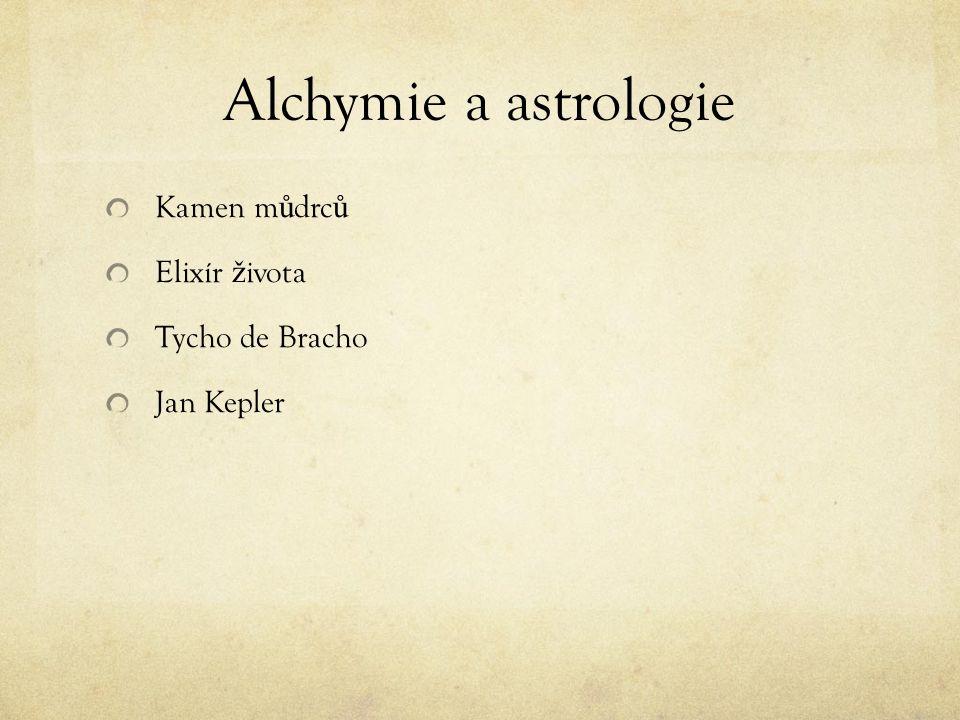 Alchymie a astrologie Kamen m ů drc ů Elixír ž ivota Tycho de Bracho Jan Kepler