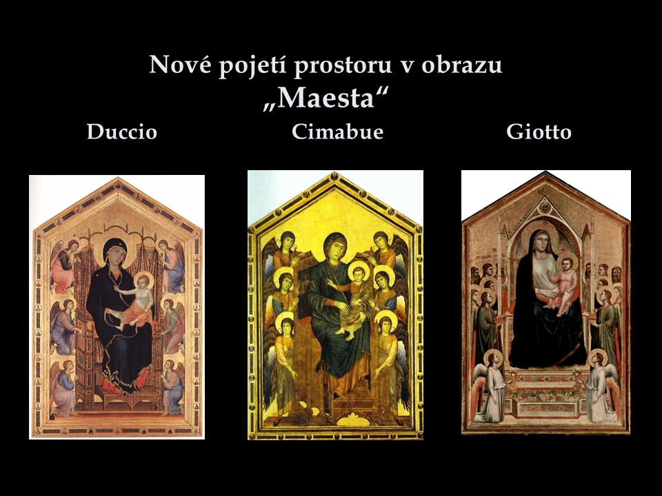 """Nové pojetí prostoru v obrazu """"Maesta"""" Duccio Cimabue Giotto"""