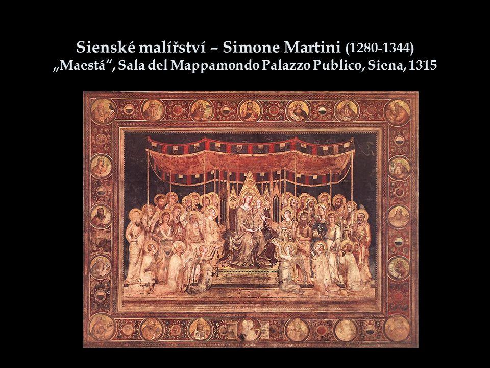 "Sienské malířství – Simone Martini (1280-1344) ""Maestá , Sala del Mappamondo Palazzo Publico, Siena, 1315"