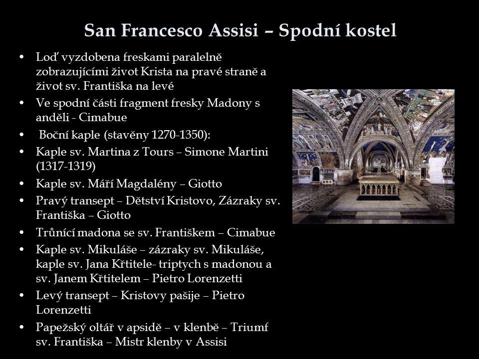 San Francesco Assisi – Spodní kostel Loď vyzdobena freskami paralelně zobrazujícími život Krista na pravé straně a život sv. Františka na levé Ve spod