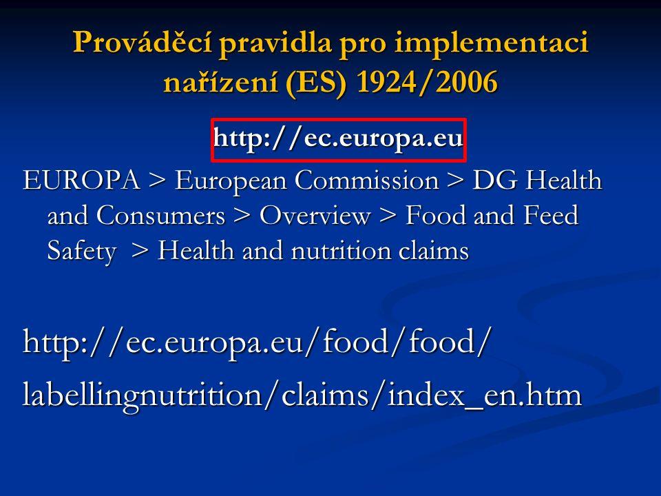 Prováděcí pravidla pro implementaci nařízení (ES) 1924/2006 http://ec.europa.eu http://ec.europa.eu EUROPA > European Commission > DG Health and Consu