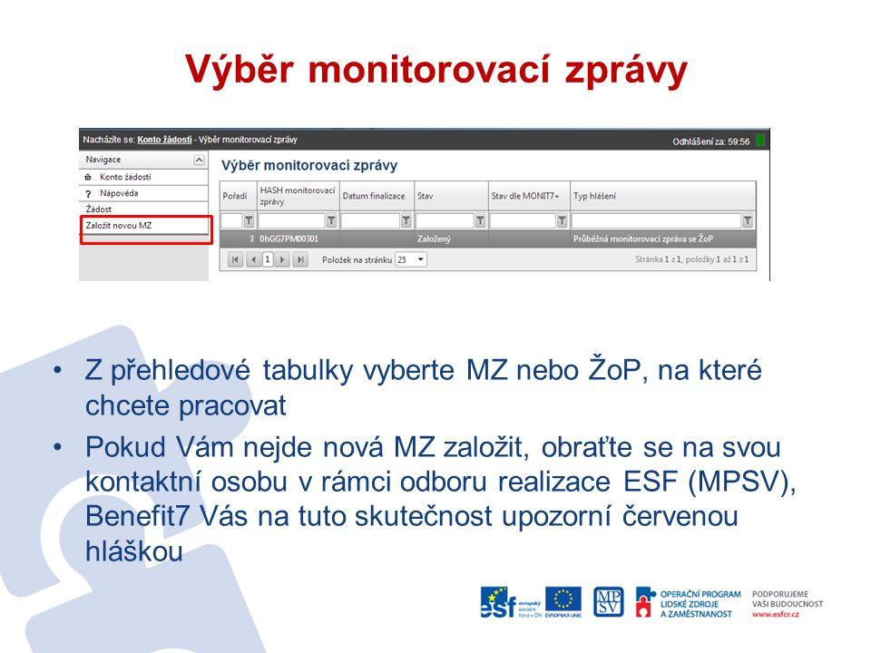 Výběr monitorovací zprávy Z přehledové tabulky vyberte MZ nebo ŽoP, na které chcete pracovat Pokud Vám nejde nová MZ založit, obraťte se na svou kontaktní osobu v rámci odboru realizace ESF (MPSV), Benefit7 Vás na tuto skutečnost upozorní červenou hláškou