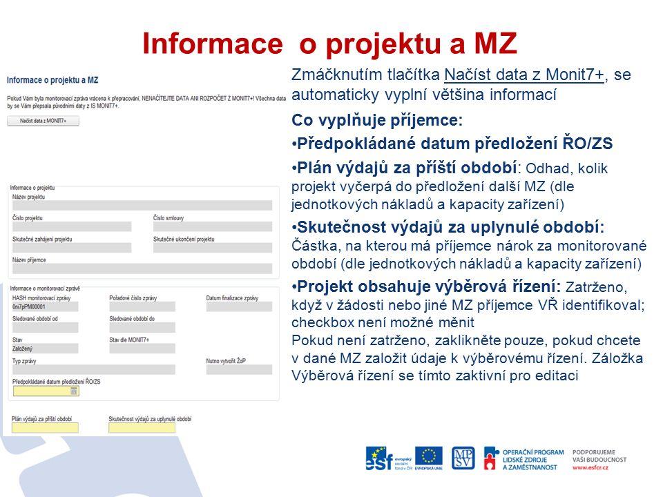 Informace o projektu a MZ Zmáčknutím tlačítka Načíst data z Monit7+, se automaticky vyplní většina informací Co vyplňuje příjemce: Předpokládané datum předložení ŘO/ZS Plán výdajů za příští období: Odhad, kolik projekt vyčerpá do předložení další MZ (dle jednotkových nákladů a kapacity zařízení) Skutečnost výdajů za uplynulé období: Částka, na kterou má příjemce nárok za monitorované období (dle jednotkových nákladů a kapacity zařízení) Projekt obsahuje výběrová řízení: Zatrženo, když v žádosti nebo jiné MZ příjemce VŘ identifikoval; checkbox není možné měnit Pokud není zatrženo, zaklikněte pouze, pokud chcete v dané MZ založit údaje k výběrovému řízení.