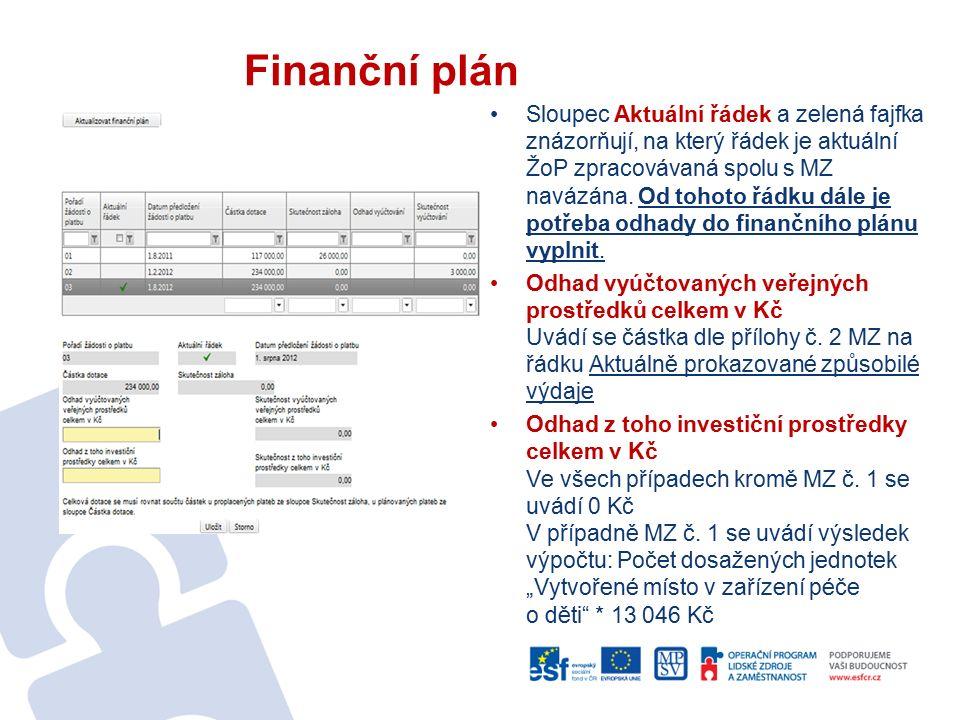 Finanční plán Sloupec Aktuální řádek a zelená fajfka znázorňují, na který řádek je aktuální ŽoP zpracovávaná spolu s MZ navázána. Od tohoto řádku dále