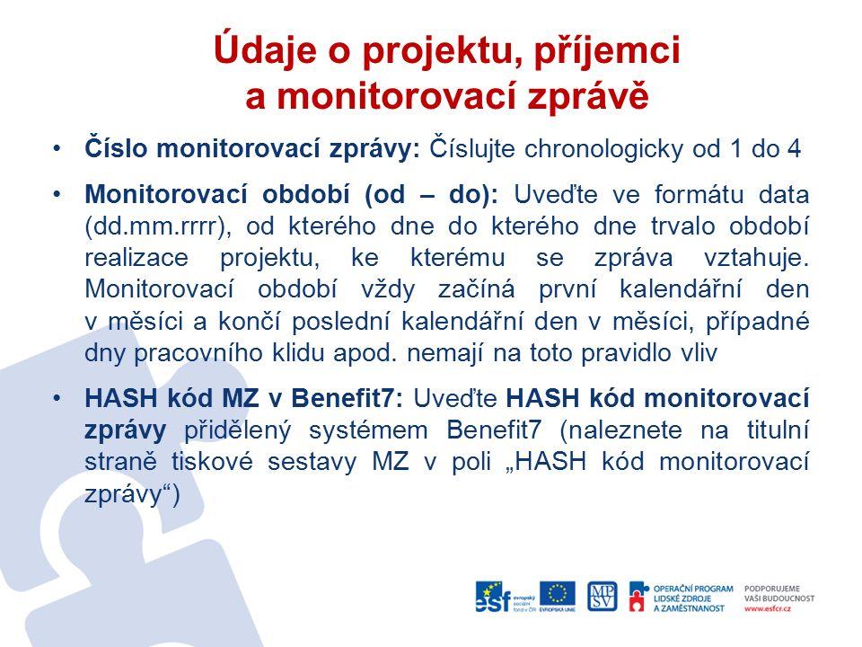 Údaje o projektu, příjemci a monitorovací zprávě Číslo monitorovací zprávy: Číslujte chronologicky od 1 do 4 Monitorovací období (od – do): Uveďte ve