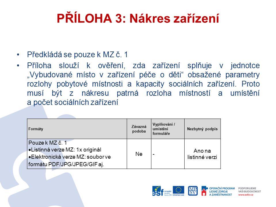 """Předkládá se pouze k MZ č. 1 Příloha slouží k ověření, zda zařízení splňuje v jednotce """"Vybudované místo v zařízení péče o děti"""" obsažené parametry ro"""