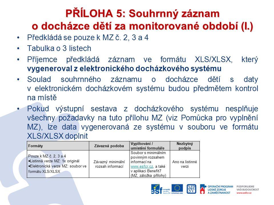 PŘÍLOHA 5: Souhrnný záznam o docházce dětí za monitorované období (I.) Předkládá se pouze k MZ č.