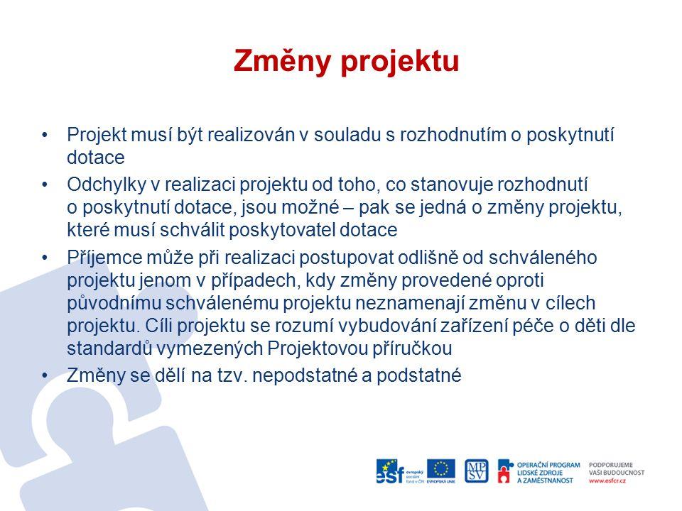 Změny projektu Projekt musí být realizován v souladu s rozhodnutím o poskytnutí dotace Odchylky v realizaci projektu od toho, co stanovuje rozhodnutí