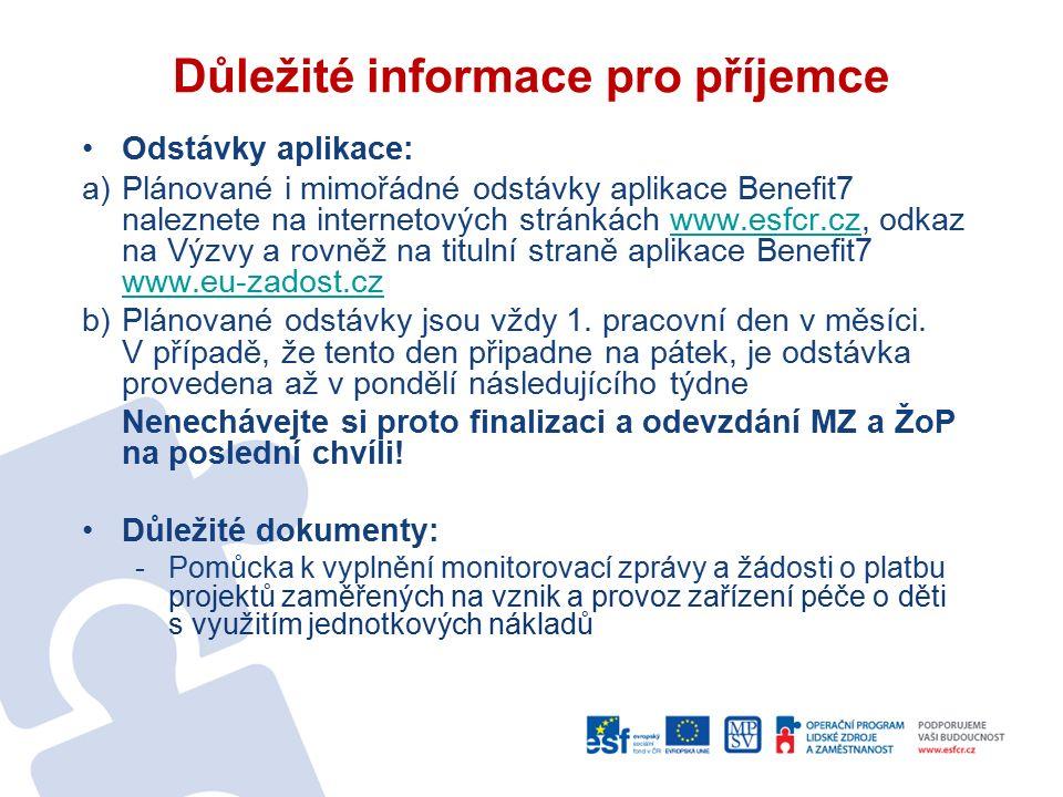 Důležité informace pro příjemce Odstávky aplikace: a)Plánované i mimořádné odstávky aplikace Benefit7 naleznete na internetových stránkách www.esfcr.cz, odkaz na Výzvy a rovněž na titulní straně aplikace Benefit7 www.eu-zadost.czwww.esfcr.cz www.eu-zadost.cz b)Plánované odstávky jsou vždy 1.