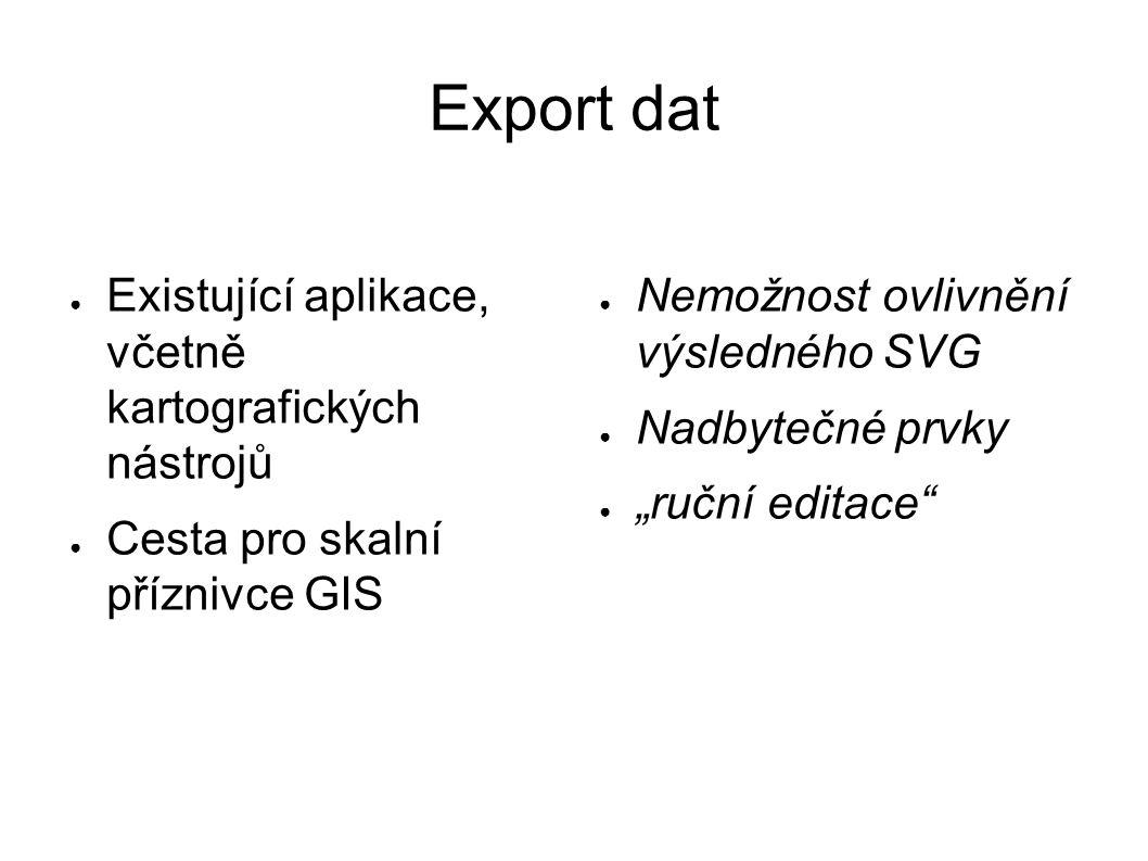 """Export dat ● Existující aplikace, včetně kartografických nástrojů ● Cesta pro skalní příznivce GIS ● Nemožnost ovlivnění výsledného SVG ● Nadbytečné prvky ● """"ruční editace"""