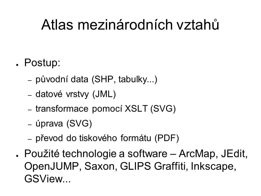 Atlas mezinárodních vztahů ● Postup: – původní data (SHP, tabulky...) – datové vrstvy (JML) – transformace pomocí XSLT (SVG) – úprava (SVG) – převod do tiskového formátu (PDF) ● Použité technologie a software – ArcMap, JEdit, OpenJUMP, Saxon, GLIPS Graffiti, Inkscape, GSView...