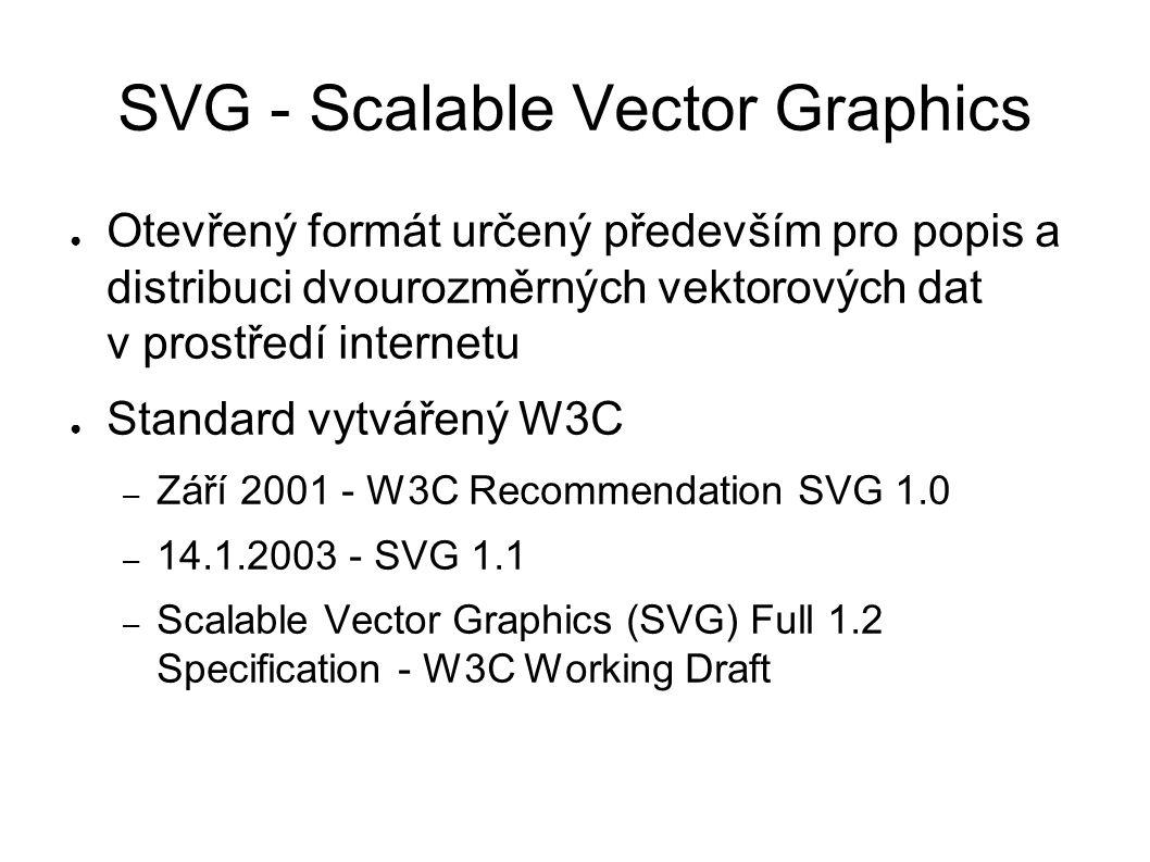 SVG - Scalable Vector Graphics ● Otevřený formát určený především pro popis a distribuci dvourozměrných vektorových dat v prostředí internetu ● Standard vytvářený W3C – Září 2001 - W3C Recommendation SVG 1.0 – 14.1.2003 - SVG 1.1 – Scalable Vector Graphics (SVG) Full 1.2 Specification - W3C Working Draft