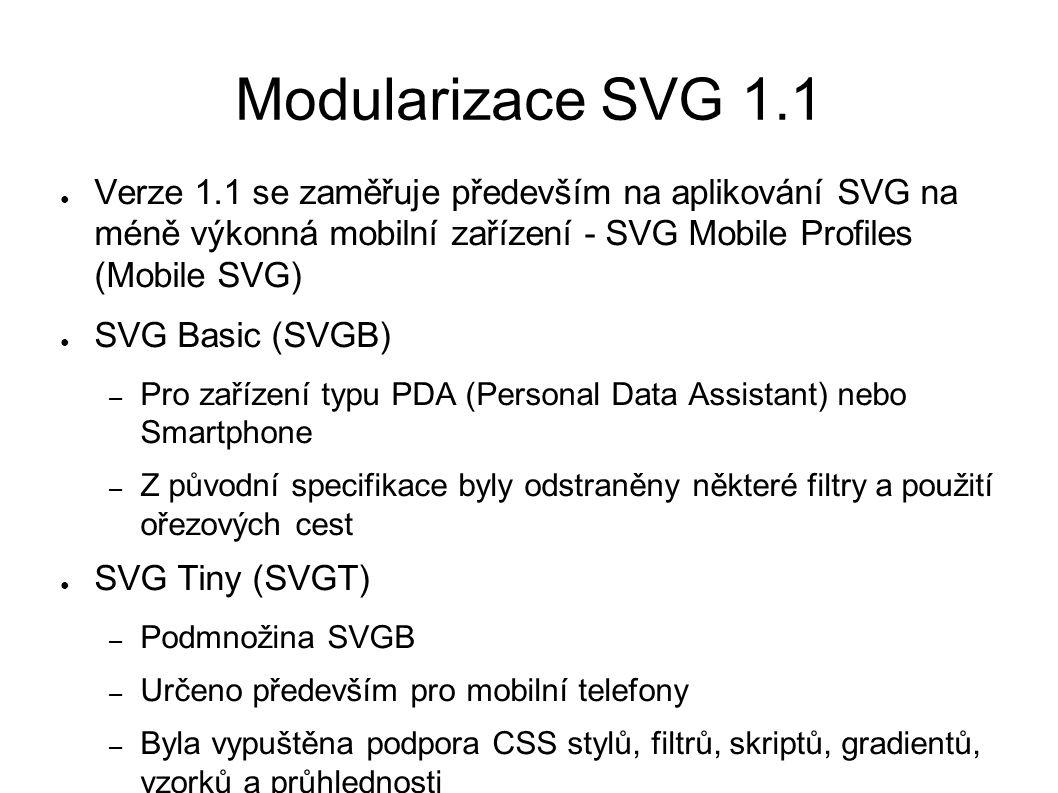 Modularizace SVG 1.1 ● Verze 1.1 se zaměřuje především na aplikování SVG na méně výkonná mobilní zařízení - SVG Mobile Profiles (Mobile SVG) ● SVG Basic (SVGB) – Pro zařízení typu PDA (Personal Data Assistant) nebo Smartphone – Z původní specifikace byly odstraněny některé filtry a použití ořezových cest ● SVG Tiny (SVGT) – Podmnožina SVGB – Určeno především pro mobilní telefony – Byla vypuštěna podpora CSS stylů, filtrů, skriptů, gradientů, vzorků a průhlednosti