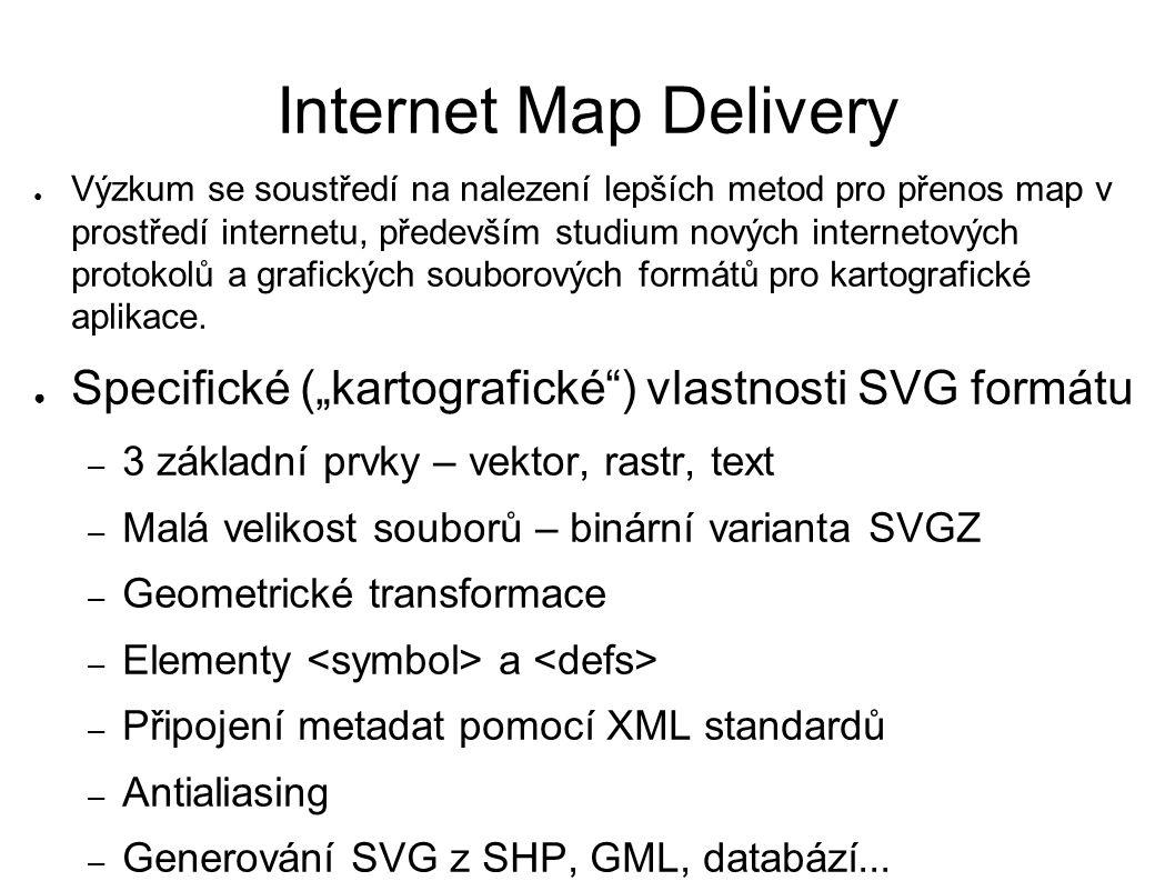 Internet Map Delivery ● Výzkum se soustředí na nalezení lepších metod pro přenos map v prostředí internetu, především studium nových internetových protokolů a grafických souborových formátů pro kartografické aplikace.