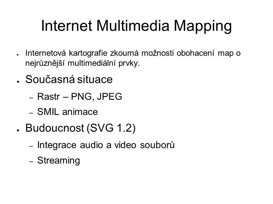 Internet Multimedia Mapping ● Internetová kartografie zkoumá možnosti obohacení map o nejrůznější multimediální prvky.