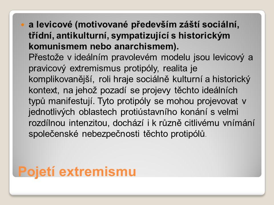 Pojetí extremismu a levicové (motivované především záští sociální, třídní, antikulturní, sympatizující s historickým komunismem nebo anarchismem). Pře