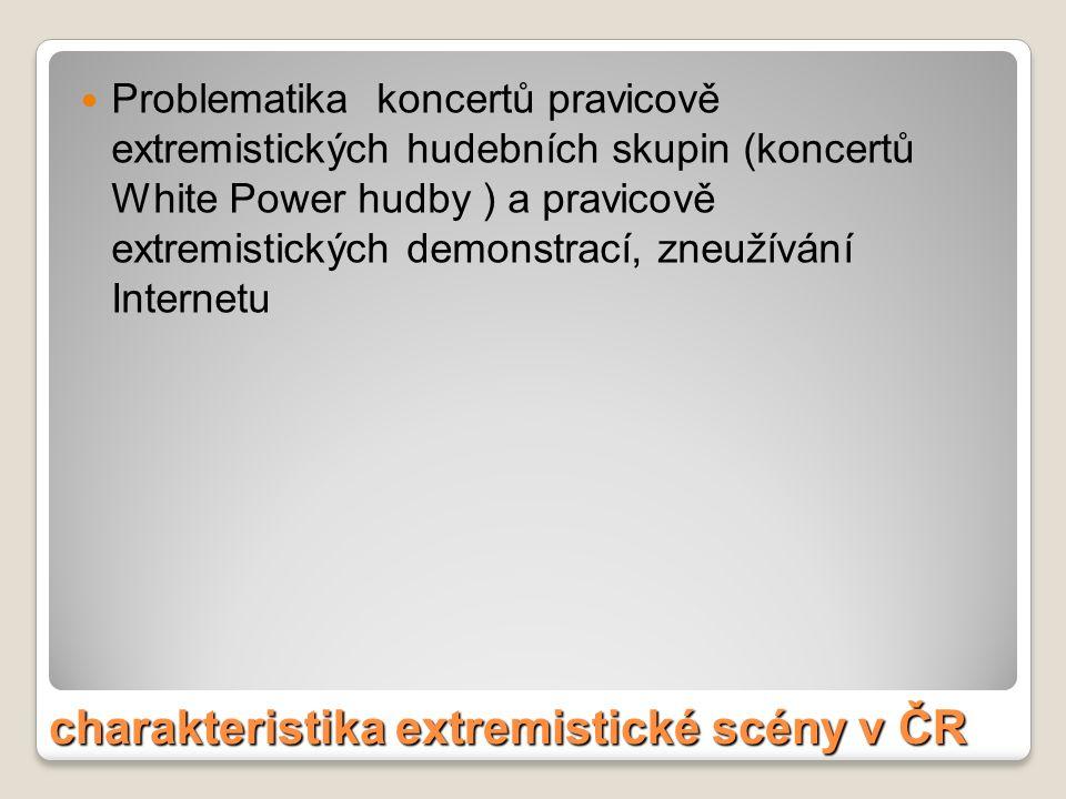 charakteristika extremistické scény v ČR Problematika koncertů pravicově extremistických hudebních skupin (koncertů White Power hudby ) a pravicově extremistických demonstrací, zneužívání Internetu