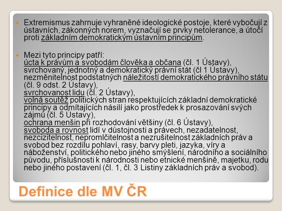 Definice dle MV ČR Extremismus zahrnuje vyhraněné ideologické postoje, které vybočují z ústavních, zákonných norem, vyznačují se prvky netolerance, a útočí proti základním demokratickým ústavním principům.