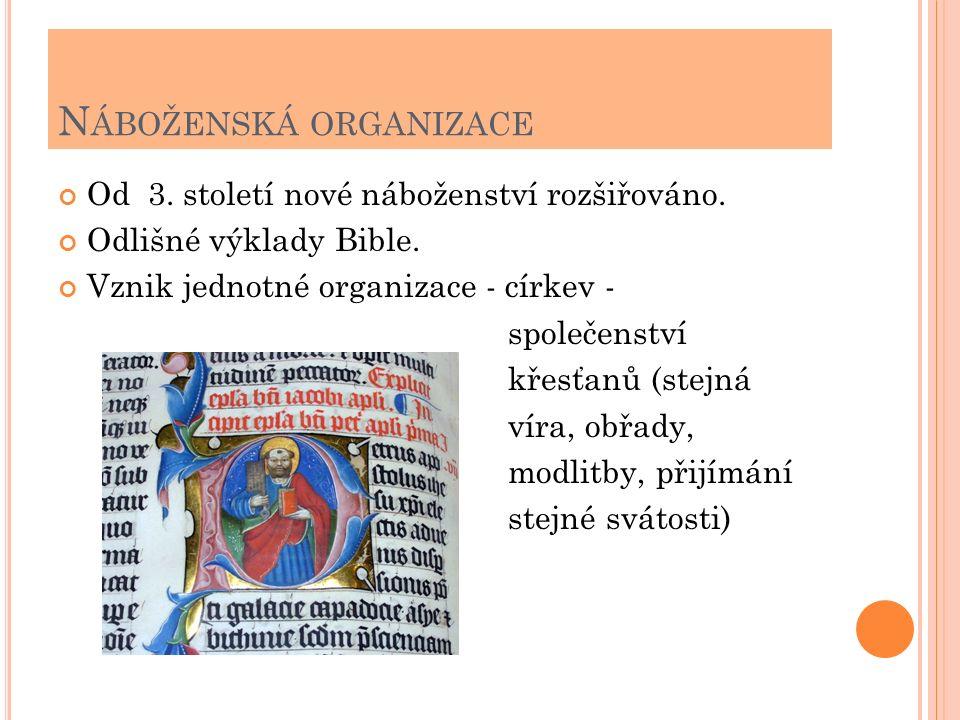 N ÁBOŽENSKÁ ORGANIZACE Od 3. století nové náboženství rozšiřováno. Odlišné výklady Bible. Vznik jednotné organizace - církev - společenství křesťanů (