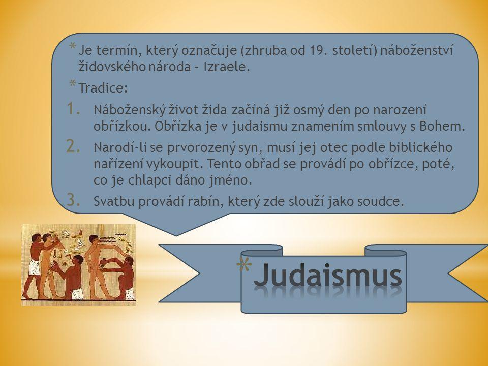 * Je termín, který označuje (zhruba od 19. století) náboženství židovského národa – Izraele.