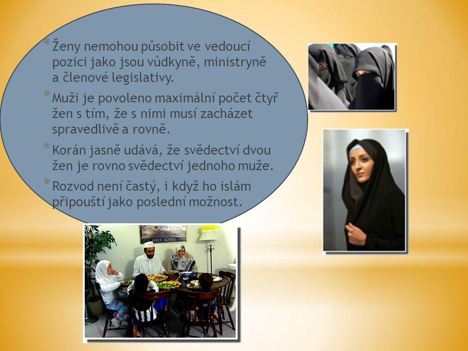 * Ženy nemohou působit ve vedoucí pozici jako jsou vůdkyně, ministryně a členové legislativy.