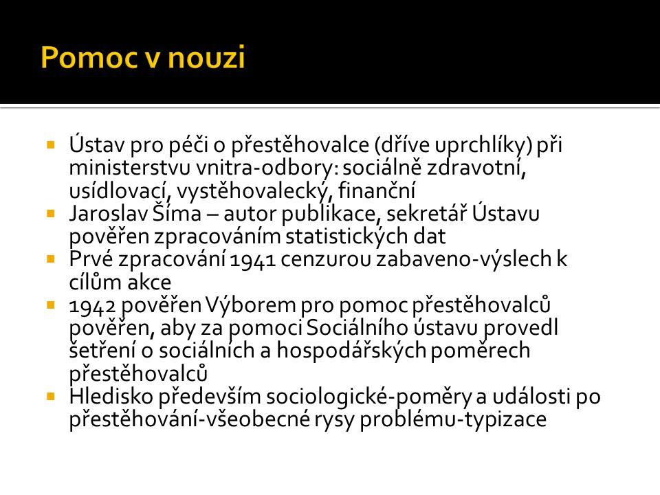  Ústav pro péči o přestěhovalce (dříve uprchlíky) při ministerstvu vnitra-odbory: sociálně zdravotní, usídlovací, vystěhovalecký, finanční  Jaroslav Šíma – autor publikace, sekretář Ústavu pověřen zpracováním statistických dat  Prvé zpracování 1941 cenzurou zabaveno-výslech k cílům akce  1942 pověřen Výborem pro pomoc přestěhovalců pověřen, aby za pomoci Sociálního ústavu provedl šetření o sociálních a hospodářských poměrech přestěhovalců  Hledisko především sociologické-poměry a události po přestěhování-všeobecné rysy problému-typizace