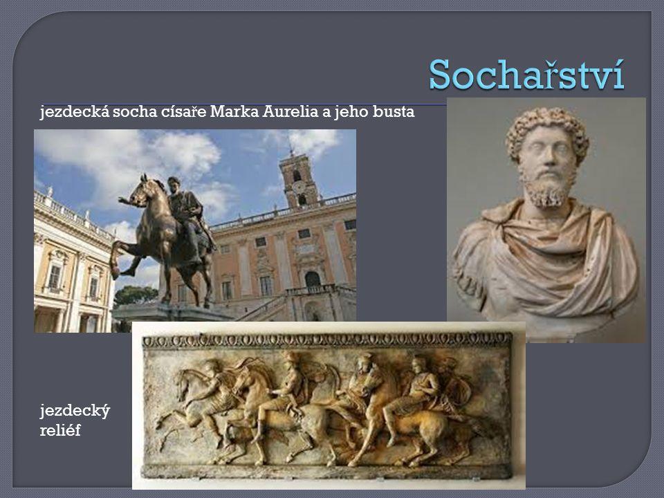 jezdecká socha císa ř e Marka Aurelia a jeho busta jezdecký reliéf