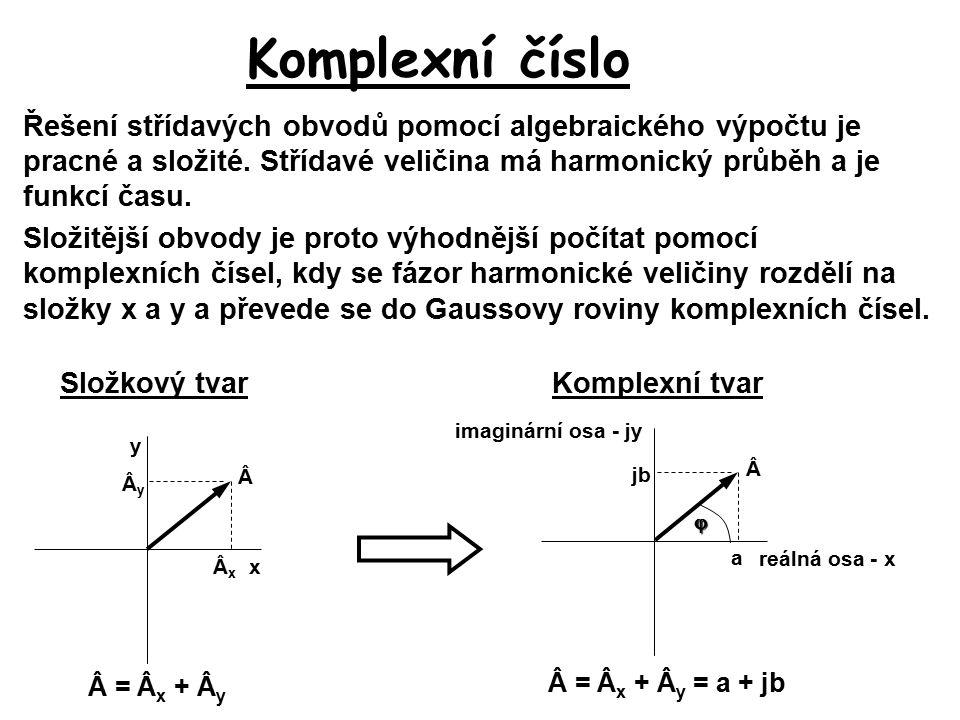 Matematické operace s komplexními čísly Zápis komplexního čísla: x jy a jb  Osa x je reálná osa, osa y je imaginární osa Definice imaginární jednotky: Absolutní hodnota komplexního čísla: Zápis komplexního čísla Složkový tvar:jednoduché sčítání a odčítání Goniometrický tvar: Exponenciální tvar: jednoduché násobení, dělení, umocňování