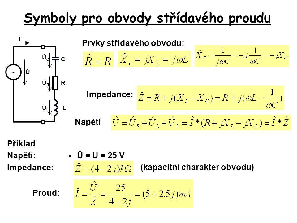 Symboly pro obvody střídavého proudu Prvky střídavého obvodu: Příklad Napětí:-Û = U = 25 V Admitance: Proudy (indukční charakter obvodu) Proud: Î  C Û ÎCÎC ÎRÎR RL ÎLÎL