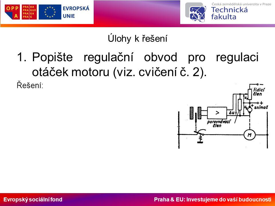 Evropský sociální fond Praha & EU: Investujeme do vaší budoucnosti Úlohy k řešení 1.Popište regulační obvod pro regulaci otáček motoru (viz.