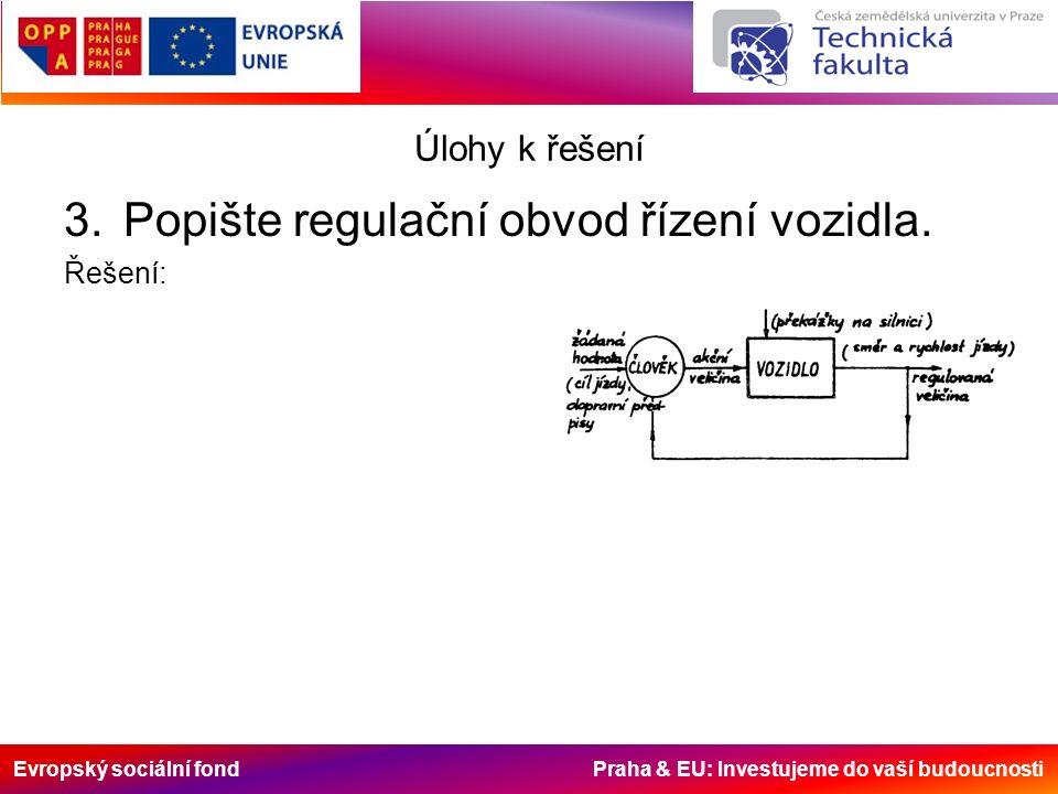 Evropský sociální fond Praha & EU: Investujeme do vaší budoucnosti Úlohy k řešení 3.Popište regulační obvod řízení vozidla.