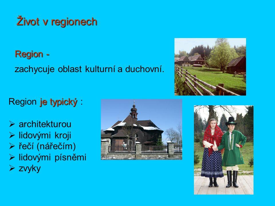 Život v regionech Region - je typický Region je typický : zachycuje oblast kulturní a duchovní.  architekturou  lidovými kroji  řečí (nářečím)  li