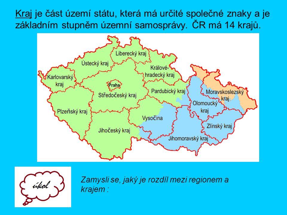 Kraj je část území státu, která má určité společné znaky a je základním stupněm územní samosprávy. ČR má 14 krajů. Zamysli se, jaký je rozdíl mezi reg