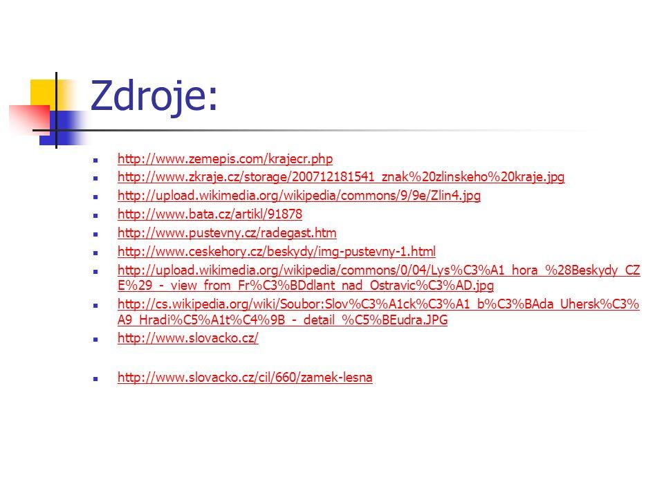 Zdroje: http://www.zemepis.com/krajecr.php http://www.zkraje.cz/storage/200712181541_znak%20zlinskeho%20kraje.jpg http://upload.wikimedia.org/wikipedia/commons/9/9e/Zlin4.jpg http://www.bata.cz/artikl/91878 http://www.pustevny.cz/radegast.htm http://www.ceskehory.cz/beskydy/img-pustevny-1.html http://upload.wikimedia.org/wikipedia/commons/0/04/Lys%C3%A1_hora_%28Beskydy_CZ E%29_-_view_from_Fr%C3%BDdlant_nad_Ostravic%C3%AD.jpg http://upload.wikimedia.org/wikipedia/commons/0/04/Lys%C3%A1_hora_%28Beskydy_CZ E%29_-_view_from_Fr%C3%BDdlant_nad_Ostravic%C3%AD.jpg http://cs.wikipedia.org/wiki/Soubor:Slov%C3%A1ck%C3%A1_b%C3%BAda_Uhersk%C3% A9_Hradi%C5%A1t%C4%9B_-_detail_%C5%BEudra.JPG http://cs.wikipedia.org/wiki/Soubor:Slov%C3%A1ck%C3%A1_b%C3%BAda_Uhersk%C3% A9_Hradi%C5%A1t%C4%9B_-_detail_%C5%BEudra.JPG http://www.slovacko.cz/ http://www.slovacko.cz/cil/660/zamek-lesna