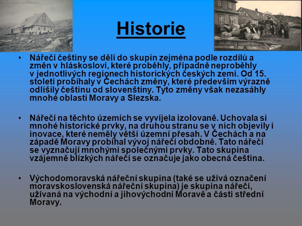 Historie Nářečí češtiny se dělí do skupin zejména podle rozdílů a změn v hláskosloví, které proběhly, případně neproběhly v jednotlivých regionech historických českých zemí.