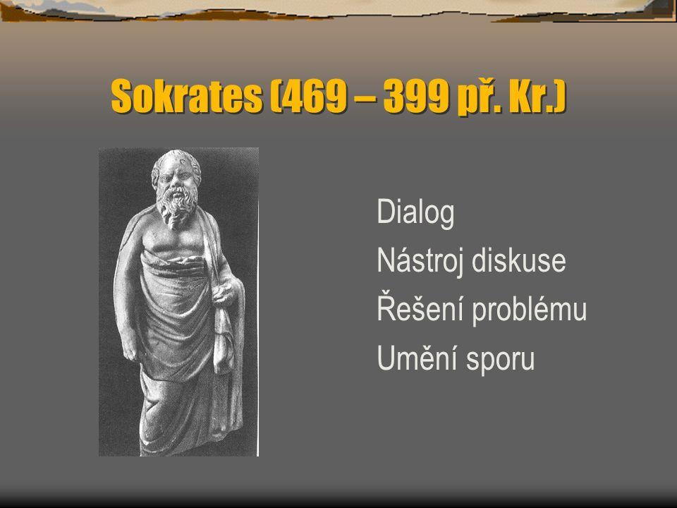 Sokrates (469 – 399 př. Kr.) Dialog Nástroj diskuse Řešení problému Umění sporu