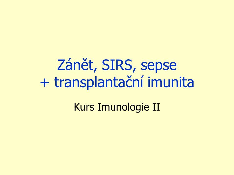 Zánět, SIRS, sepse + transplantační imunita Kurs Imunologie II