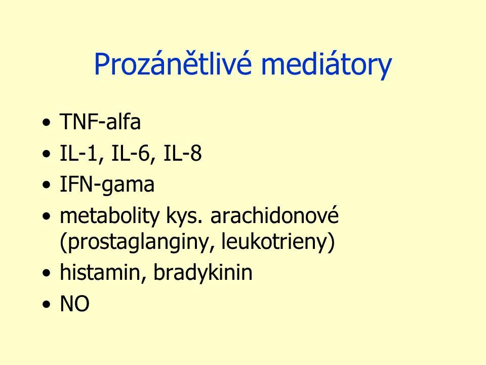 Prozánětlivé mediátory TNF-alfa IL-1, IL-6, IL-8 IFN-gama metabolity kys. arachidonové (prostaglanginy, leukotrieny) histamin, bradykinin NO