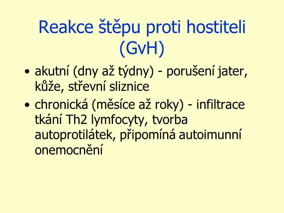Reakce štěpu proti hostiteli (GvH) akutní (dny až týdny) - porušení jater, kůže, střevní sliznice chronická (měsíce až roky) - infiltrace tkání Th2 ly