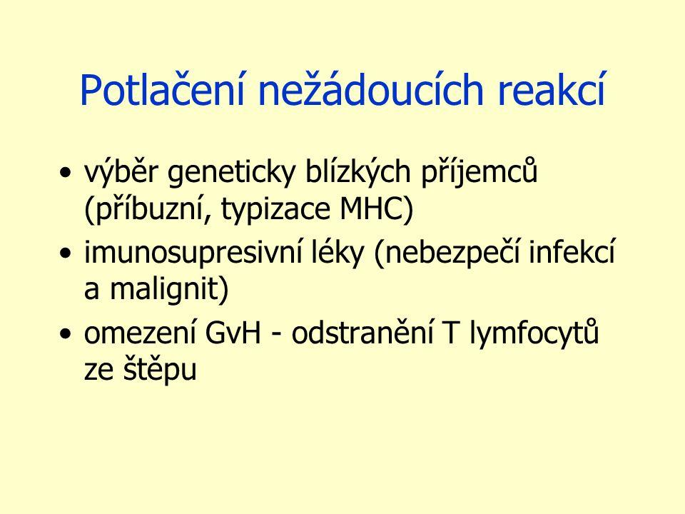 Potlačení nežádoucích reakcí výběr geneticky blízkých příjemců (příbuzní, typizace MHC) imunosupresivní léky (nebezpečí infekcí a malignit) omezení GvH - odstranění T lymfocytů ze štěpu