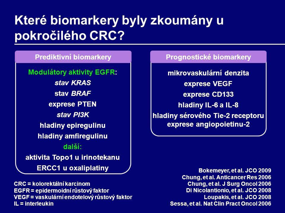 Které biomarkery byly zkoumány u pokročilého CRC.