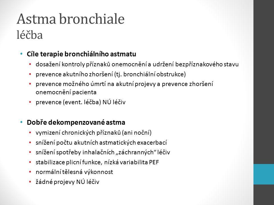 Astma bronchiale léčba Cíle terapie bronchiálního astmatu dosažení kontroly příznaků onemocnění a udržení bezpříznakového stavu prevence akutního zhoršení (tj.