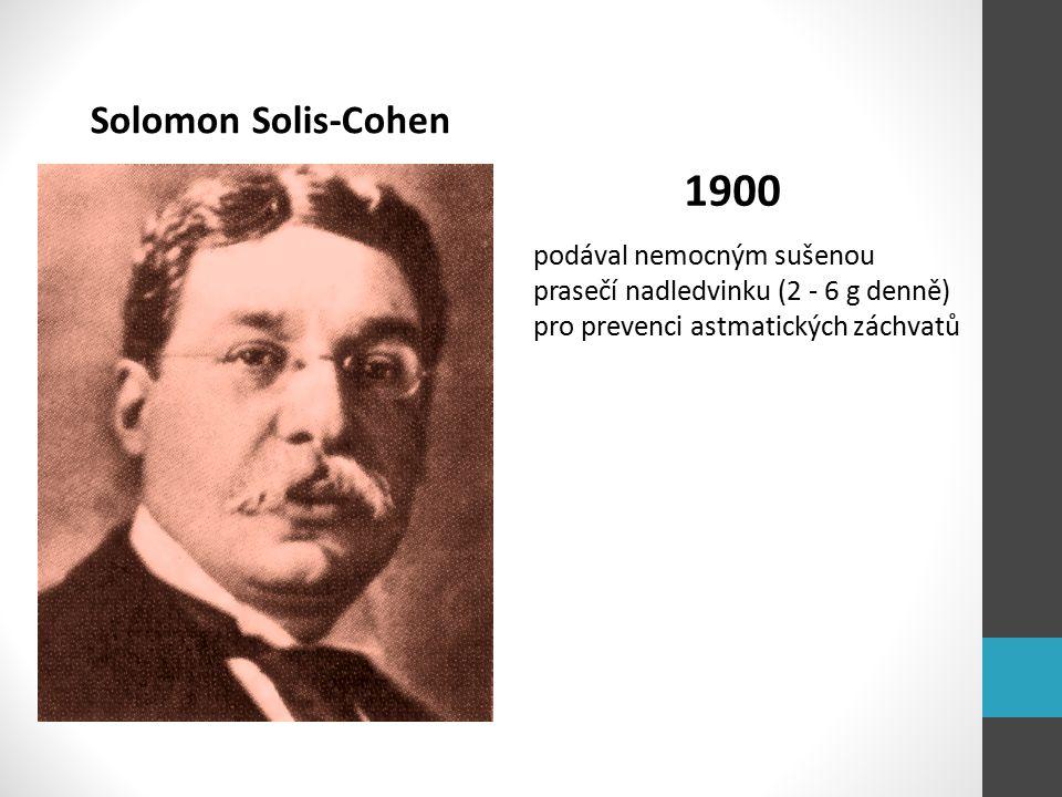 Solomon Solis-Cohen 1900 podával nemocným sušenou prasečí nadledvinku (2 - 6 g denně) pro prevenci astmatických záchvatů