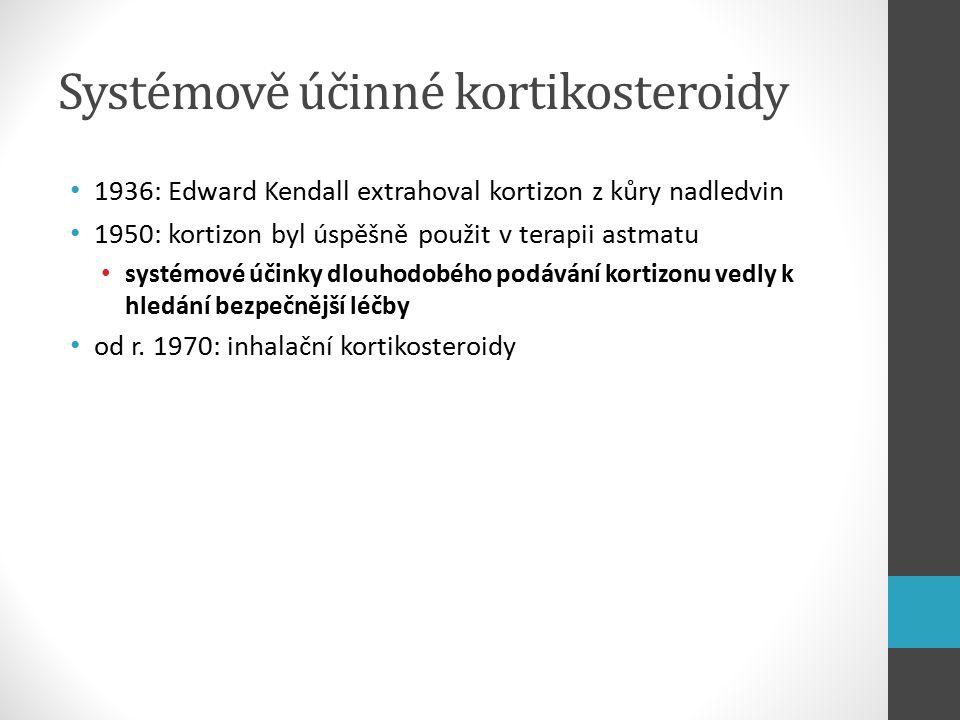Systémově účinné kortikosteroidy 1936: Edward Kendall extrahoval kortizon z kůry nadledvin 1950: kortizon byl úspěšně použit v terapii astmatu systémové účinky dlouhodobého podávání kortizonu vedly k hledání bezpečnější léčby od r.